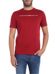 Emporio Armani - Red t-shirt with white logo embroidery