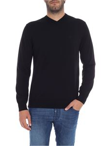 Emporio Armani - Black V-neck pullover with logo