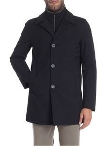 Herno - Blue coat with shirt collar