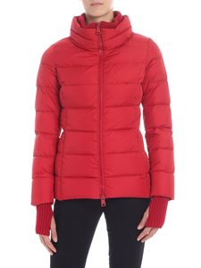 Herno - Red down jacket with knitted details