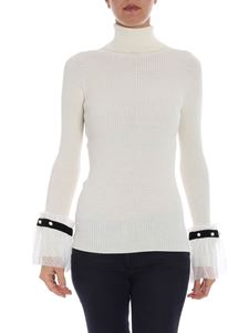 Philosophy di Lorenzo Serafini - White ribbed sweater with lace details