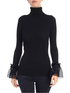 Philosophy di Lorenzo Serafini - Black ribbed sweater with lace details