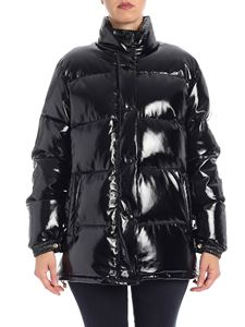Alberta Ferretti - Black patent down jacket with wrinkled effect