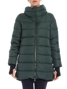 Herno - Green down jacket with knitted details