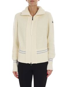 Moncler - Cream-colored cardigan with logo