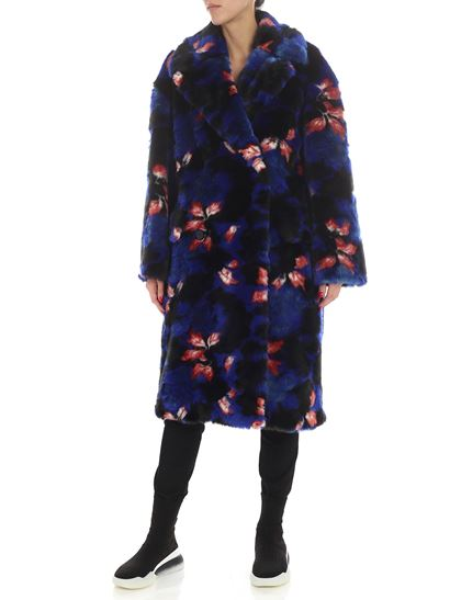 "Kenzo - Blue ""Indonesian Flower"" eco-fur jacket"