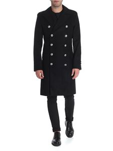 Balmain - Black double-breasted coat with branded buttons
