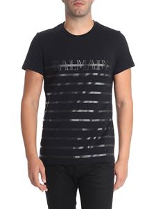 Balmain - Black t-shirt with laminated black prints