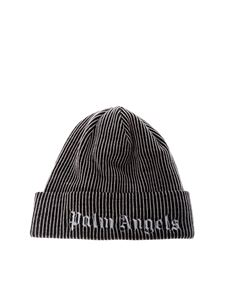 Palm Angels - Black and pink beanie with logo