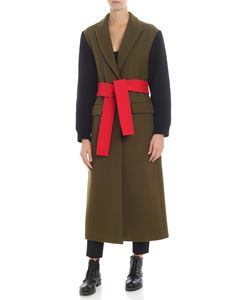 MSGM - Green coat with knitted sleeves