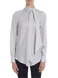 See by Chloé - Lavallière-embellished striped ivory blouse