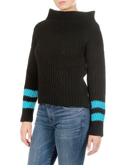 MSGM - Black and blue shirt with cowl collar