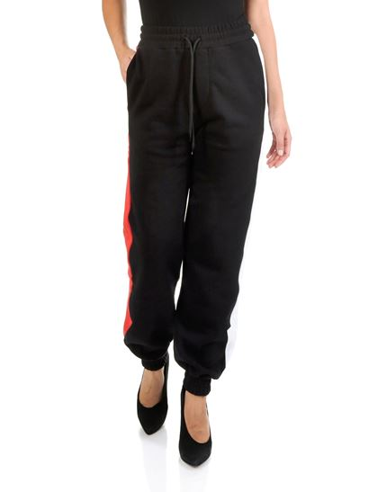 MSGM - Black sweat pants with side bands