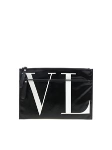 "Valentino - ""VLTN"" black clutch bag"