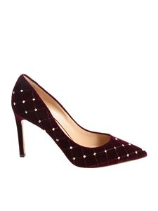 Valentino - Burgundy pointed pumps with studs