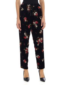 Forte Forte - Black velvet trousers with floral print
