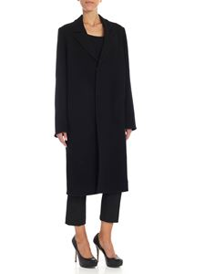 Forte Forte - Black single-breasted diagonal fabric coat
