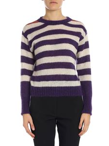 "Tela - ""Retta"" pullover with white and purple stripes"
