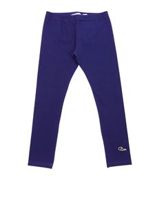 Baby Dior - Blue cotton leggings with logo