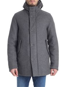 Herno - Grey wool coat with quilted details