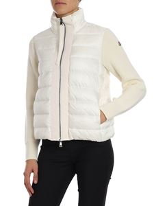 Moncler - Cream color boxy cardigan with logo