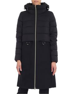 Herno - Black down jacket with cotton and virgin wool insert