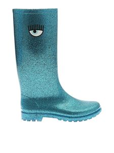 Chiara Ferragni - Turquoise glittered boots with logo