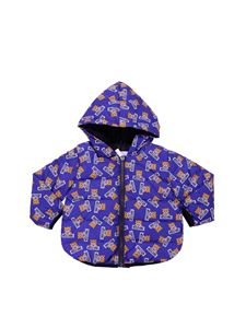 Moschino Kids - Blue hooded jacket with logo print