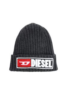 Diesel - Melange grey beanie with logo