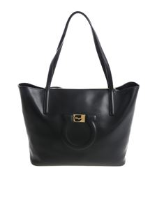 Salvatore Ferragamo - Black tote bag with logo