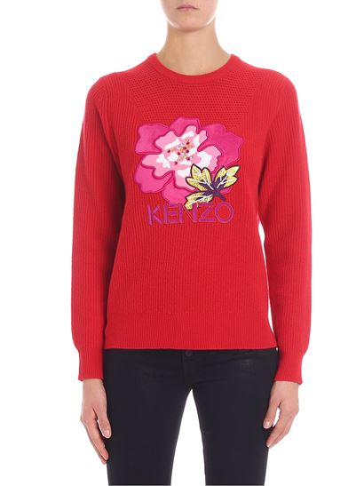 """Kenzo - """"Indonesian Flower"""" red pullover"""