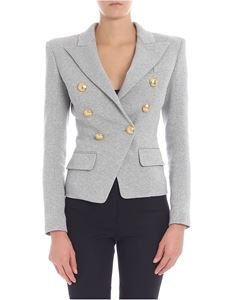 Balmain - Grey melange double-breasted jacket