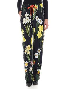 Dolce & Gabbana - Black trousers with daffodils print