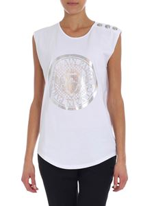 Balmain - White top with silver logo print