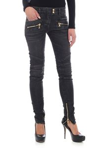Balmain - Black jeans with golden zips