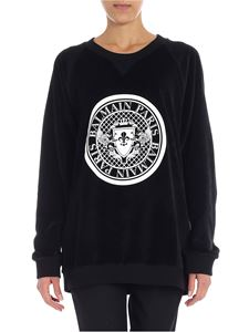 Balmain - Black velvet sweatshirt with logo
