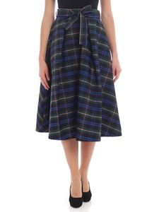MSGM - Black and green flared skirt with check print