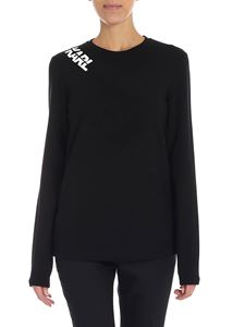 Karl Lagerfeld - Black t-shirt with zip on the shoulder