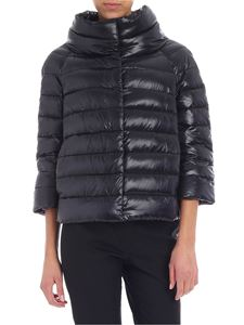 Herno - Black crop down jacket with logo