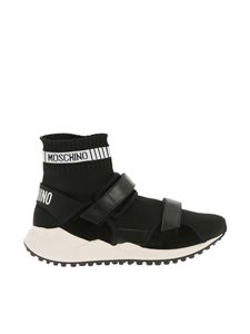 Moschino - Black sneakers with logo and velcro