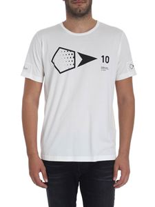 Stone Island - White t-shirt with black print