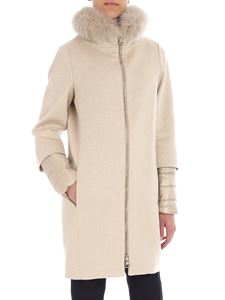 Herno - Sand coat with fur