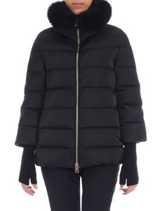 Herno - Black quilted down jacket with fur