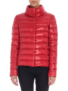 Herno - Red quilted down jacket with logo