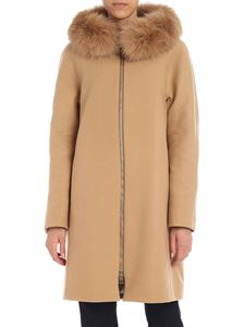 Herno - Camel coat with fur