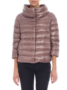 Herno - Powder pink down jacket with oval collar