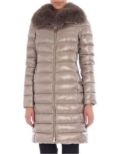 Herno - Taupe down jacket with fur