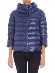 Herno - Bluette cropped down jacket with logo