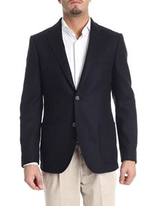 Fay - Blue wool and cashmere two-button jacket