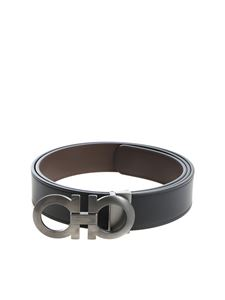 Salvatore Ferragamo - Black leather belt with buckle closure